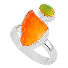6.90cts natural mexican fire opal ethiopian opal 925 silver ring size 7 t10054