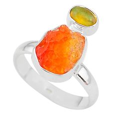 6.61cts natural mexican fire opal ethiopian opal 925 silver ring size 7 t10056