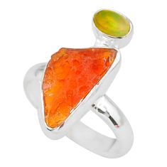 6.61cts natural mexican fire opal ethiopian opal 925 silver ring size 7 t10057