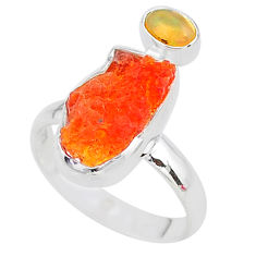 6.83cts natural mexican fire opal ethiopian opal 925 silver ring size 8 t10028