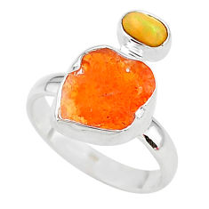 6.61cts natural mexican fire opal ethiopian opal 925 silver ring size 8 t10033