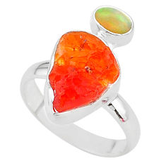 6.85cts natural mexican fire opal ethiopian opal 925 silver ring size 8 t10035