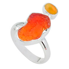 7.24cts natural mexican fire opal ethiopian opal 925 silver ring size 8 t10039