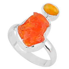 7.24cts natural mexican fire opal ethiopian opal 925 silver ring size 8 t10052