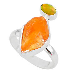 7.24cts natural mexican fire opal ethiopian opal 925 silver ring size 8 t10053