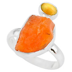 8.06cts natural mexican fire opal ethiopian opal 925 silver ring size 9 t10025