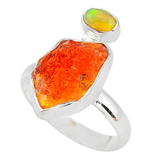 7.87cts natural mexican fire opal ethiopian opal 925 silver ring size 9 t10029