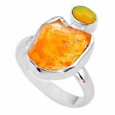 8.44cts natural mexican fire opal ethiopian opal 925 silver ring size 9 t10059