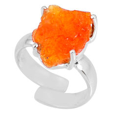 5.84cts natural mexican fire opal fancy silver adjustable ring size 4.5 r60125