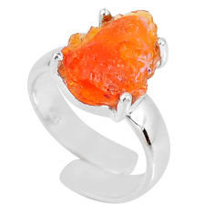 5.45cts natural mexican fire opal fancy silver adjustable ring size 4.5 r60132