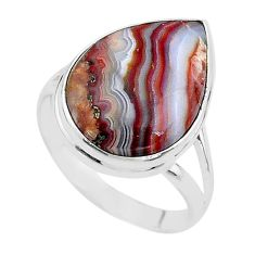 14.72cts natural mexican laguna lace agate 925 silver ring size 10.5 t17827