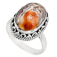 Clearance Sale- 6.31cts natural mexican laguna lace agate silver solitaire ring size 6.5 d39066