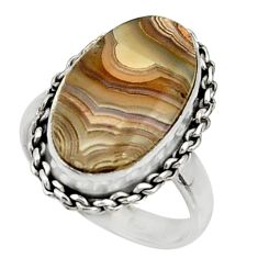 6.84cts natural mexican laguna lace agate silver solitaire ring size 6.5 r28308
