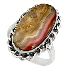 13.73cts natural mexican laguna lace agate silver solitaire ring size 8.5 r28315