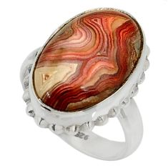 11.58cts natural mexican laguna lace agate silver solitaire ring size 6.5 r28316