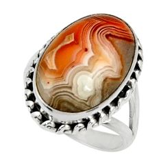 13.28cts natural mexican laguna lace agate silver solitaire ring size 7.5 r28335