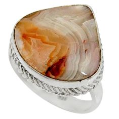 14.41cts natural mexican laguna lace agate silver solitaire ring size 8.5 r28338