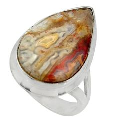 14.72cts natural mexican laguna lace agate silver solitaire ring size 6 r28310