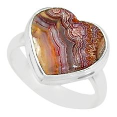 7.60cts natural mexican laguna lace agate silver solitaire ring size 6 r84705
