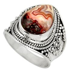 Clearance Sale- 6.89cts natural mexican laguna lace agate silver solitaire ring size 7 d39001