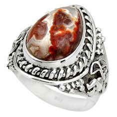 Clearance Sale- 5.63cts natural mexican laguna lace agate silver solitaire ring size 7 d39076