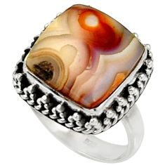 7.94cts natural mexican laguna lace agate silver solitaire ring size 7 r28313