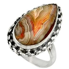 12.06cts natural mexican laguna lace agate silver solitaire ring size 7 r28321