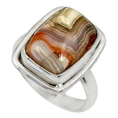 7.12cts natural mexican laguna lace agate silver solitaire ring size 7 r28330