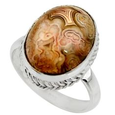 10.30cts natural mexican laguna lace agate silver solitaire ring size 8 r28327