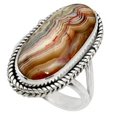 16.92cts natural mexican laguna lace agate silver solitaire ring size 8 r28331