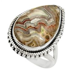 19.12cts natural mexican laguna lace agate silver solitaire ring size 8 r28336