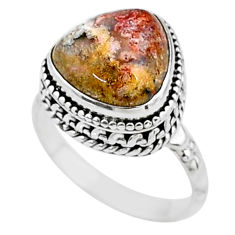 6.62cts natural mexican laguna lace agate silver solitaire ring size 8 t16066