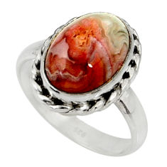 6.02cts natural mexican laguna lace agate silver solitaire ring size 9 r28304