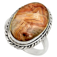 14.12cts natural mexican laguna lace agate silver solitaire ring size 9 r28333
