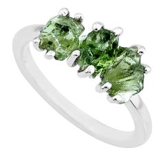 6.95cts natural moldavite (genuine czech) 3 stone 925 silver ring size 7 r71976