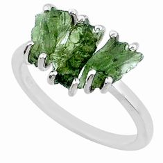 8.49cts natural moldavite (genuine czech) 3 stone 925 silver ring size 8 r71951