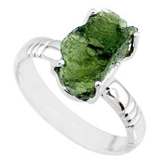 7.15cts natural moldavite (genuine czech) silver solitaire ring size 9.5 r71835