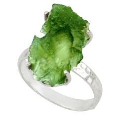 5.44cts natural moldavite (genuine czech) silver solitaire ring size 6 d47439