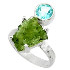 6.09cts natural moldavite (genuine czech) silver solitaire ring size 6 r29483