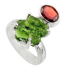 7.88cts natural moldavite (genuine czech) silver solitaire ring size 6 r29508