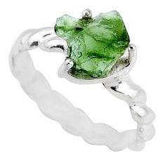 3.95cts natural moldavite (genuine czech) silver solitaire ring size 6 r71822