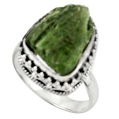 8.96cts natural moldavite (genuine czech) silver solitaire ring size 7 d46526
