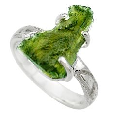 6.27cts natural moldavite (genuine czech) silver solitaire ring size 7 r29440