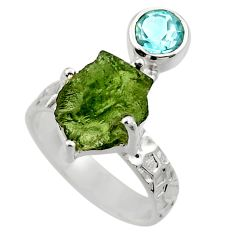 7.36cts natural moldavite (genuine czech) silver solitaire ring size 7 r29504