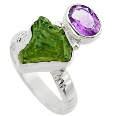 8.45cts natural moldavite (genuine czech) silver solitaire ring size 7 r29510