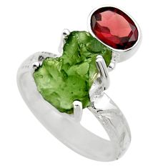 7.89cts natural moldavite (genuine czech) silver solitaire ring size 7 r29513