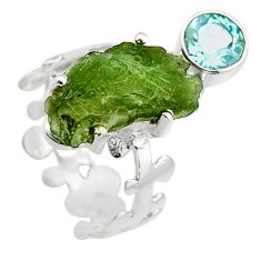 8.45cts natural moldavite (genuine czech) silver solitaire ring size 7 r29520