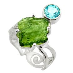 7.17cts natural moldavite (genuine czech) silver solitaire ring size 7 r29522