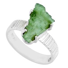 5.22cts natural moldavite (genuine czech) silver solitaire ring size 7 r71818