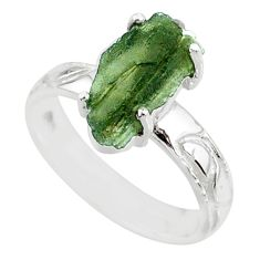 6.22cts natural moldavite (genuine czech) silver solitaire ring size 7 r71826